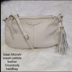 Isaac Mizrahi creamy leather Crossbody handbag
